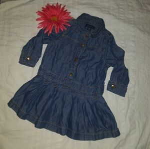 TH | Denim Peplum Snap Dress Baby sz. 18 mos.